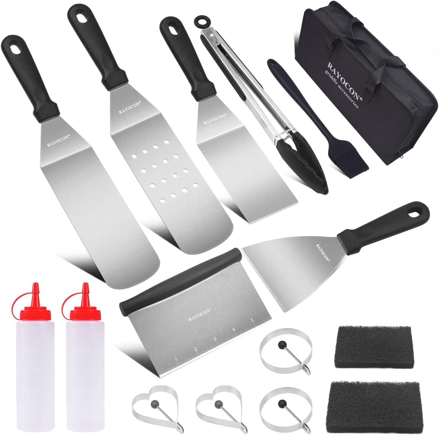 RAYOCON Griddle Accessories Kit 16 Pieces Flat Top Grill Accessories with Spatula Scraper Griddle Tools Utensils Set for Outdoor BBQ,Teppanyaki,Cooking Barbecue and Camping (14 inch)