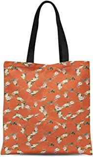S4Sassy Orange Roses & Ranunculus Floral Printed Canvas Large Tote Bag for Beach Shopping Groceries Books 16x12 Inches