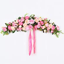 Lvydec Artificial Rose Flower Swag, 25 Inch Decorative Swag with Pink Roses, Green Leaves and Silk Ribbon for Wedding Arch Front Door Wall Decor