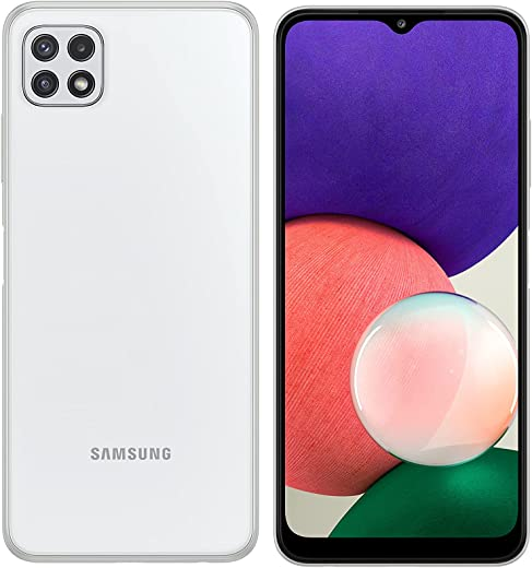 هاتف سامسونج جالكسي A22 الذكي- ثنائي شرائح الاتصال - بذاكرة 128 جيجا وذاكرة رام 6 جيجا يدعم الجيل الخامس لون ابيض(نسخة المملكة العربية السعودية)