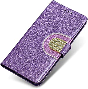 Moto Plus Case  The Grafu  Shiny Flip Folio  Kickstand Feature  Leather Wallet Case with Credit Card Pockets and Wrist Strap for Apple Moto Plus  Purple