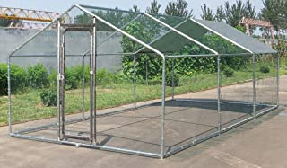 ChickenCoopOutlet Large Metal 20x10 ft Chicken Coop Backyard Hen House Cage Run Outdoor Cage