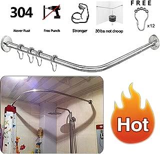 Stretchable 304 Stainless L Shaped Bathroom Bathtub Corner Shower Curtain Rod Rack 70-100x70-100CM/27.55
