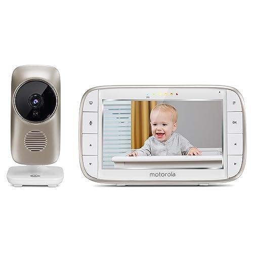"""Motorola Baby MBP 845 Connect - Babyphone vidéo Wi-Fi avec grand écran 5.0"""", éco-mode, alertes de mouvements, du niveau sonore et de la température, couleur blanc"""