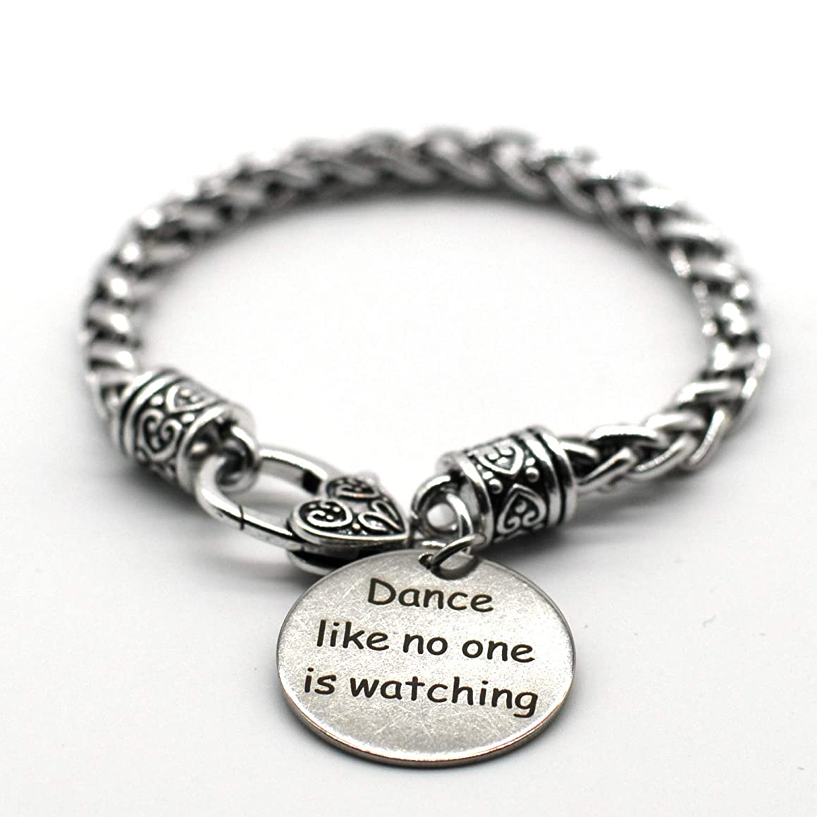 M&T 2015 Stainless Steel Charm Inspiration Jewelry, Dance Like No One is Watching, 17