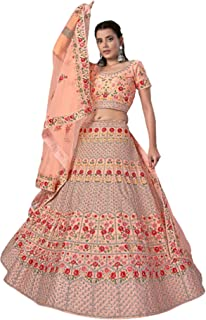 PEACH Indian Wedding Sangeet استقبال العروس Ghagra Art الحرير Gagra & Thread Lehenga Choli Dupatta تنورة 6229