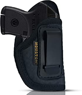 IWB Gun Holster by Houston - ECO Leather Concealed Carry Soft Material | Suede Interior for Maximum Protection | Fits: S&W Bodyguard, Ruger LCP II, Taurus TCP, Sig P238, Jimenez JA, PPK .380