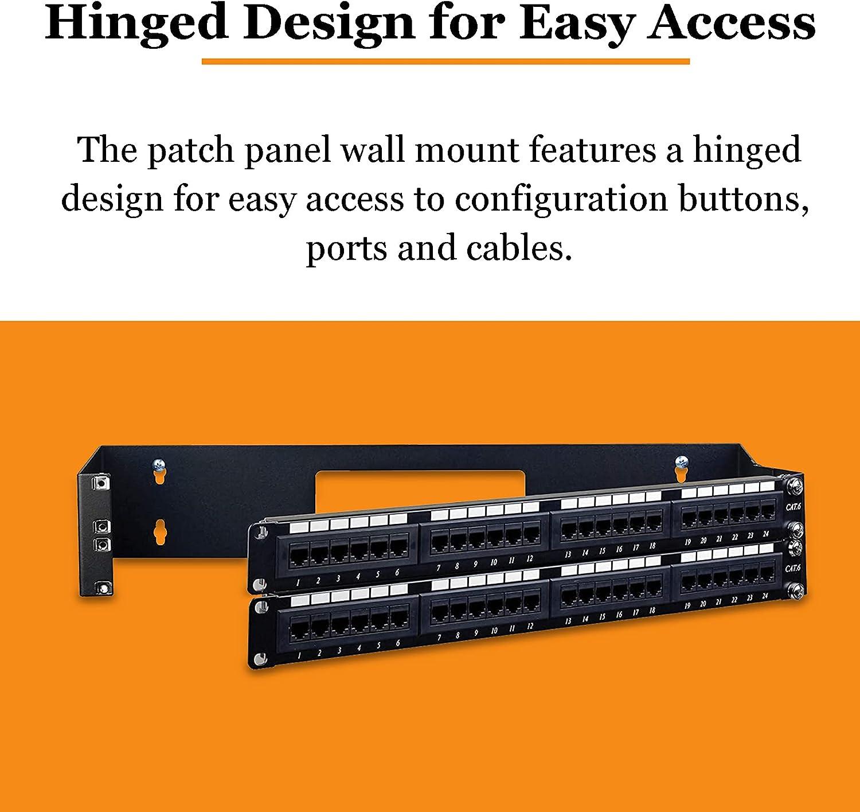 2U Black Hinged Wall Mount Patch Panel Bracket,19