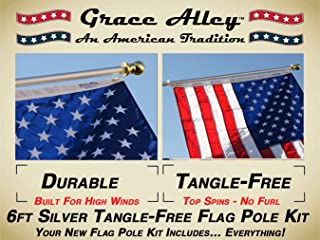 Flag Pole Kit: Includes Tangle Free Flag Pole, Flag Pole Bracket and American Flag - Made in USA. Great for Residential or Commercial. Brushed Aluminum Flag Pole.