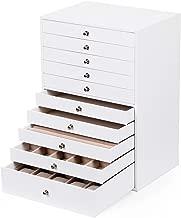 SONGMICS Caja Joyero Extra Grande, Estuche de 10 Capas, Organizador en Piel Sintética, con Cajones, Blanco JBC10W