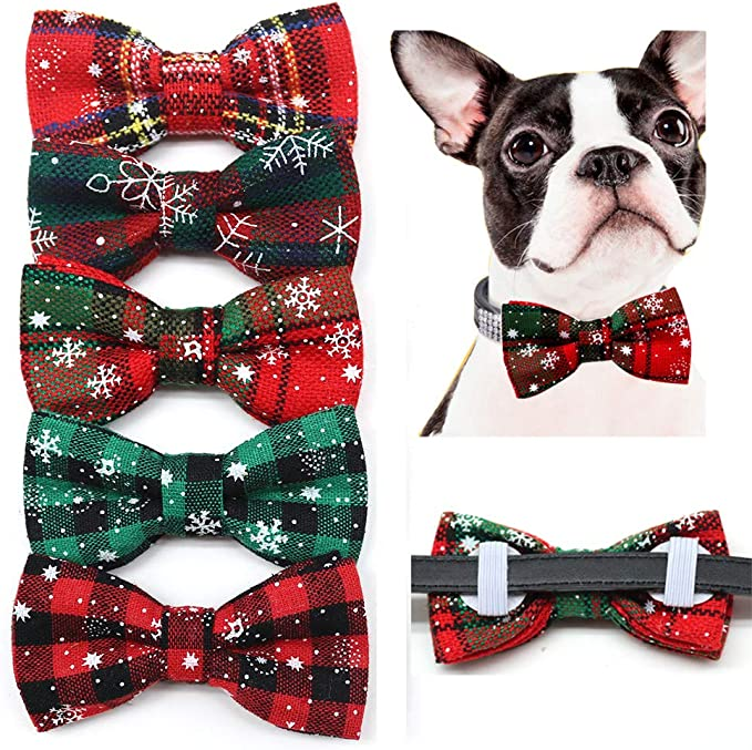 Stocking Stuffer Black and White Plaid Bow Tie Pet Bow Christmas Theme Puppy Gift Pet Gift Christmas Gift Over The Collar Dog Bow Tie