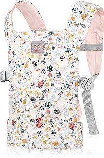 GAGAKU Muñeca Transporte Doll Carrier Delantera y Trasera de Bebé de Algodón para Niños de hasta 18 Meses - Rosa Conejo