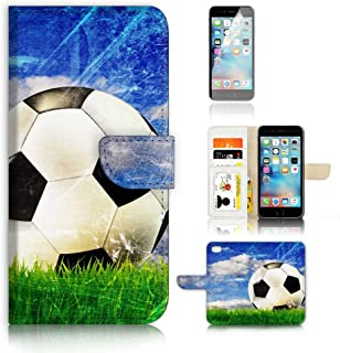 (For iPhone 8 Plus/iPhone 7 Plus) Wallet Case Cover & Screen Protector Bundle! A4002 Football Soccer