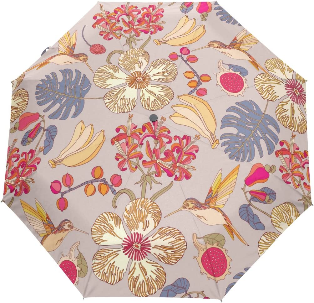 Sacramento Mall SUABO Windproof Automatic Travel Umbrella Ranking TOP19 Flowers with Tropical