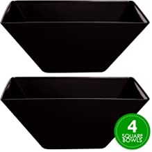 Plasticpro Disposable Square Plastic Medium Black Serving Bowls Extra Heavy Duty for Party's Snack or Salad Bowl, Elegant Pack of 4