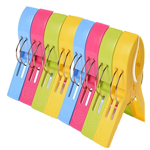 8 Pack Colorful Beach Towel Clips for Beach Chairs,Pool Loungers on Your Cruise - Jumbo Size Plastic Chair Towel Clips Clamp Holder - Keep Your Towels, Clothes, Blanket, Quilt from Blowing Away (8, 4 Different Colors)