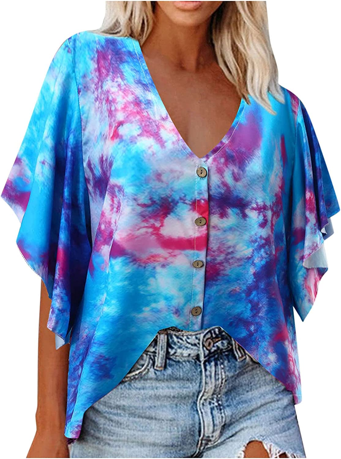 ManxiVoo Women's Tie-Dye Floral Printed V Neck Short Bell Sleeve Button Down Loose Top Shirt Blouse