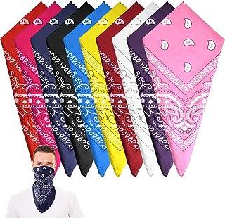 10 Pieces Paisley Bandanas Cowboy Bandana Paisley Print Head Wrap Scarf