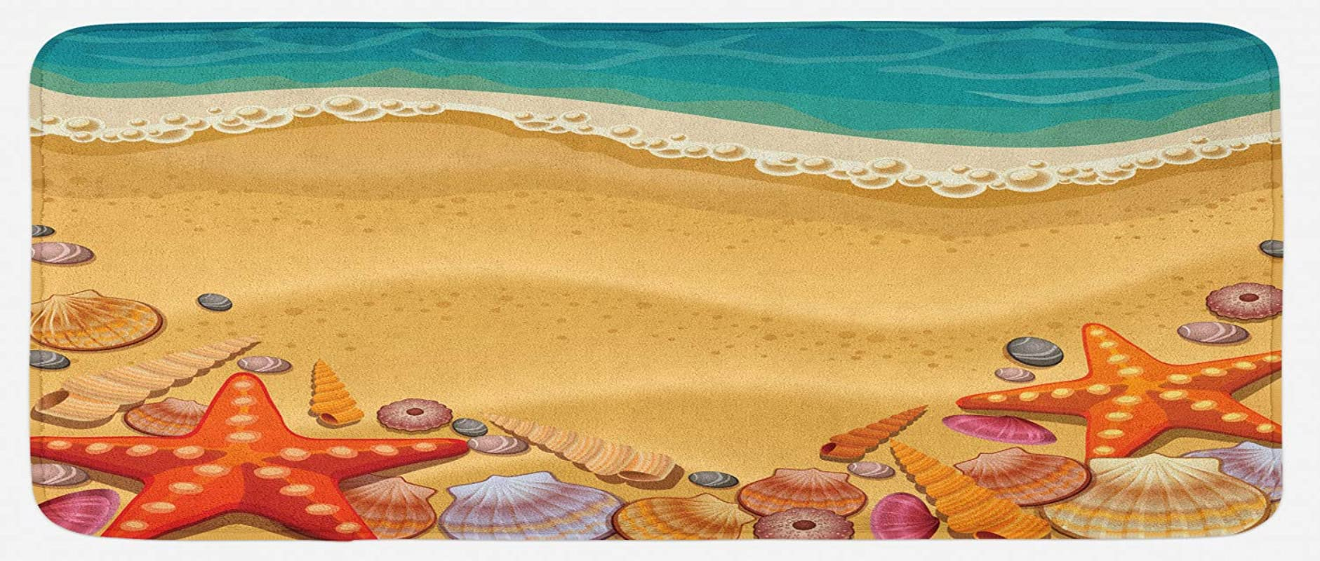 Ambesonne Seashells Kitchen Mat Seashells On The Beach Style Coastal Fun Relaxation Waves Shoreline Plush Decorative Kithcen Mat With Non Slip Backing 47 X 19 Sand Brown Orange Teal