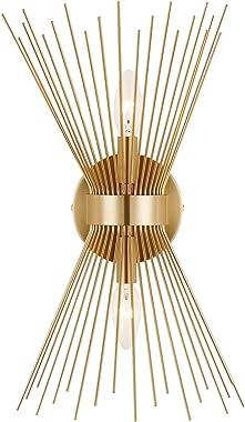 Adcssynd 2-Light Wall Sconce Lamp, Mid-Century Modern Sconce Gold Bathroom Vanity Light, Sunburst Mounted Lights, Hardwired M