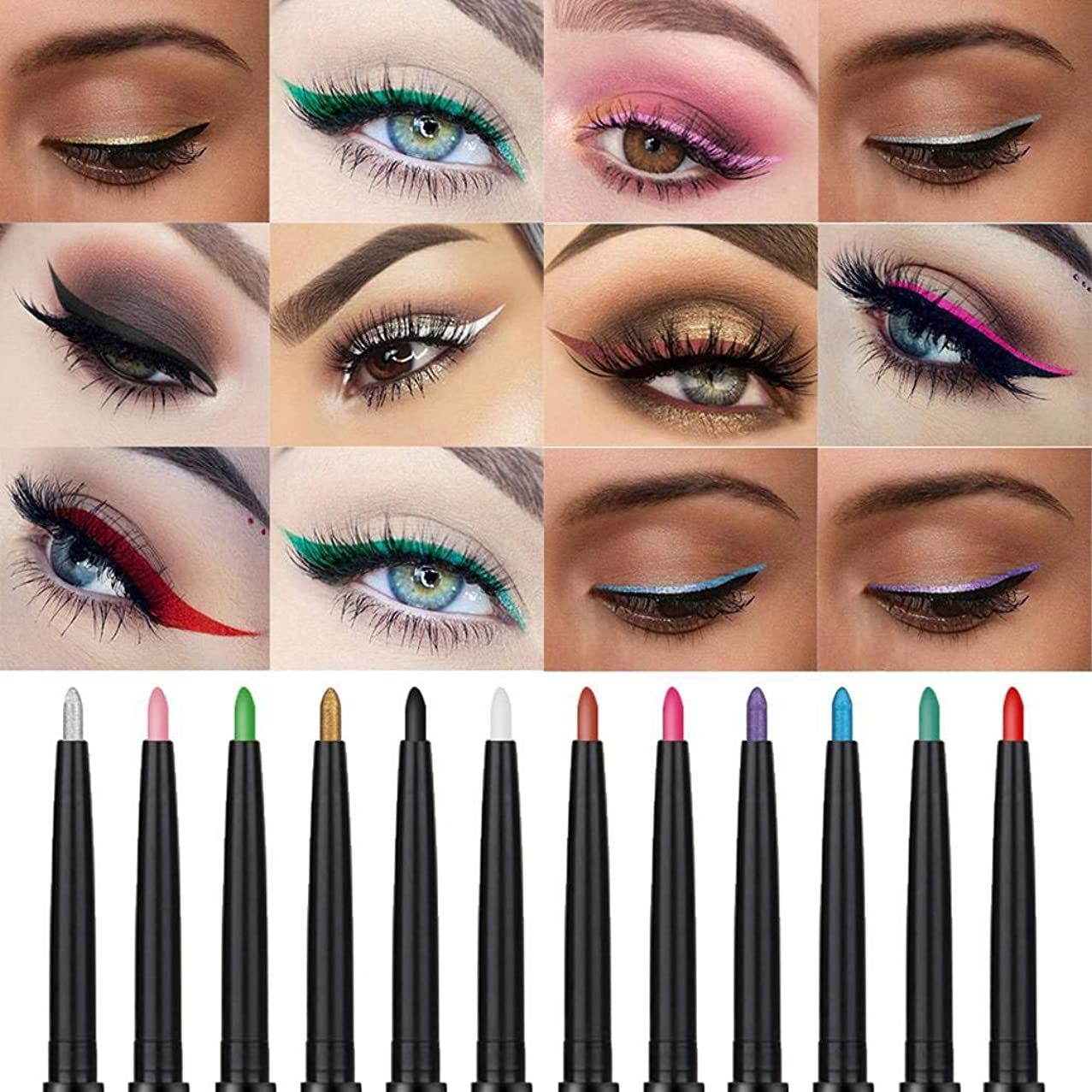 eubell Colorful Eyebrow Pencil Eyeliner Waterproof Eyeshadow Pencil Eyebrow Lip Liner Pen Makeup Cosmetic Tool