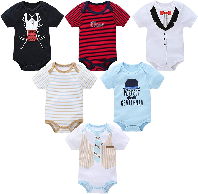 kavkas Newborn Baby Girl Onesies Short Sleeve Bodysuit Soft Cotton Undershirt for Infant Boys, 6 Pack 0-12 Months