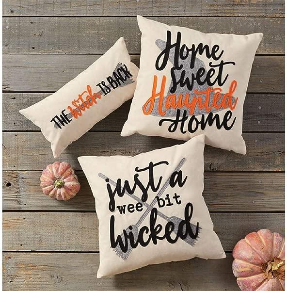 Mud Pie Wee Halloween Felt Pillow 18 Inch Square