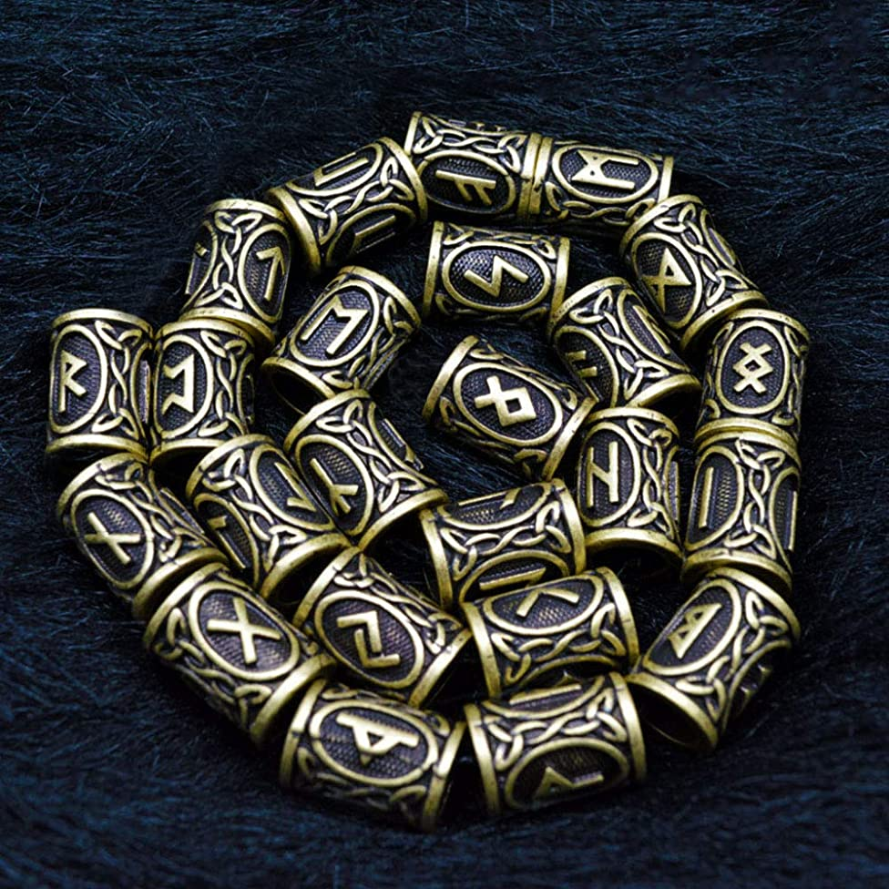 QZY 24Pc Antique Bronze Norse Viking Runes Charm Beads for Bracelets for Pendant Necklace DIY for Beard Or Hair 24 Runes for Choose