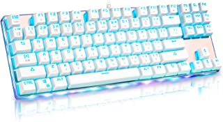 Lemoner メカニカルキーボード ゲーミングキーボード 2019最新版 US配列RGB ゲームキーボード バックライトメタル ゲームとオフィス兼用 有線キーボード 1680万色RGB Windows/Mac OS対応 9色LEDバックライト 87キー 青軸 キーボード