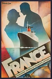 France - French Line Vintage Poster (artist: John Mattos) c. 1979 (12x18 Art Print, Wall Decor Travel Poster)