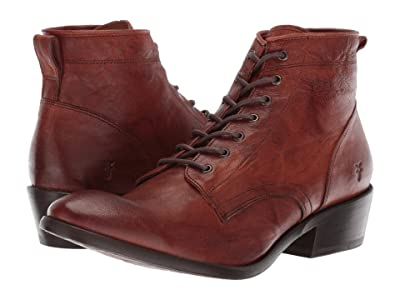 Frye Carson Lace Up (Cognac Antique Soft Vintage) Cowboy Boots