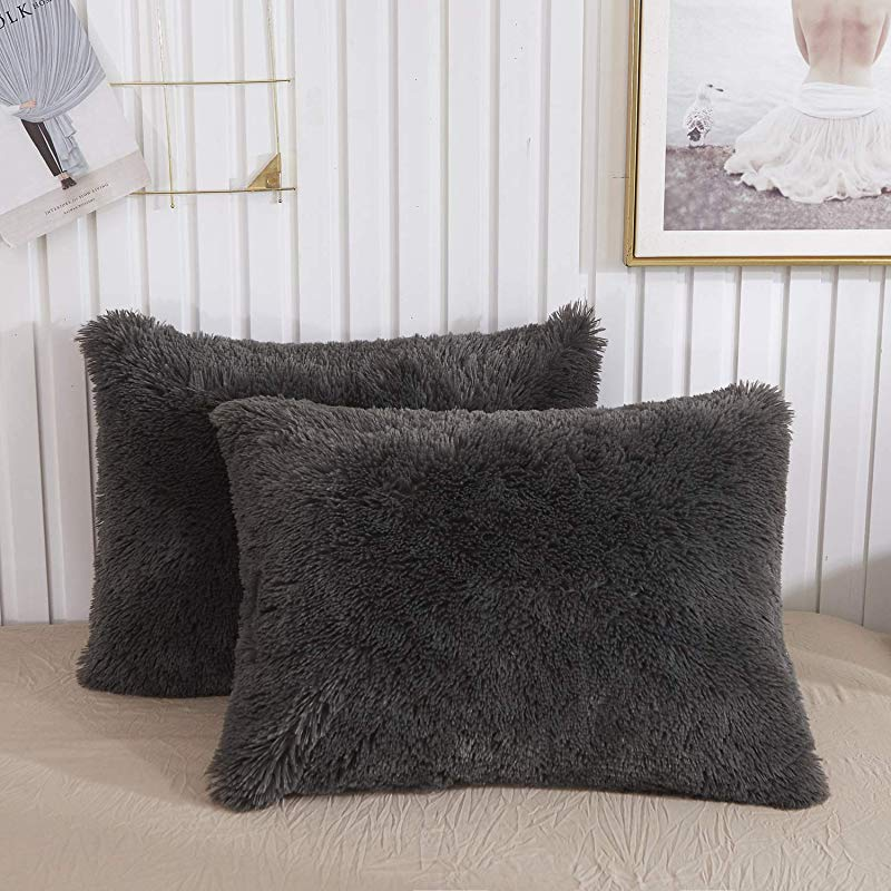 CHENFENG Faux Fur Throw Pillow Cases Plush Shaggy Ultra Soft Pillow Cover Fluffy Crystal Velvet Decorative Pillowcases Zipper Closure Set Of 2 Standard Dark Gray