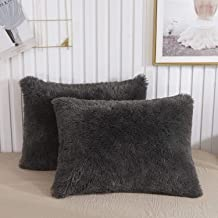 CHENFENG Faux Fur Throw Pillow Cases Plush Shaggy Ultra Soft Pillow Cover Fluffy Crystal Velvet Decorative Pillowcases Zipper Closure,Set of 2 (Standard, Dark Gray)