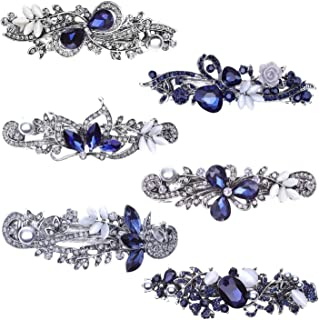 Hair Barrettes for Women, Anezus 6 Pcs Crystal Rhinestones Hair Barrettes Fancy Vintage Spring French Hair Clips for Women Girls Hair Styling Tools Accessories