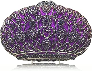 Lanbinxiang @ Women's Luxury Crystal Rhinestones Evening Bag Crown Style Banquet Clutch Wedding Bridal Bag Gift Chain Handcuffs Shoulder Bag Size: 20 * 5.5 * 10.5cm (Color : Purple)