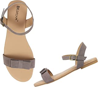 BK DREAM Women Flat Sandals with Ankle Strap (Grey, numeric_6_point_5)