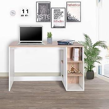 FurnitureR Escritorio de oficina-computadora con almacenamiento, escritorio de estudio-trabajo con 5 estantes, escritorio para estudiantes Mesa de estudio portátil para el hogar Mesa de recepción moderna Mesas de trabajo grandes con estantería de haya y blanco