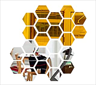 Wall1ders - 10 Silver 10 Golden Hexagon (Size 10.5 x 12.1) 3D Acrylic Stickers, 3D Acrylic Mirror Wall Stickers for Living...