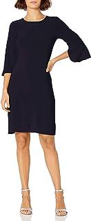 Star Vixen Women's Plus-Size Bell Sleeve Keyhole Back Sheath Dress