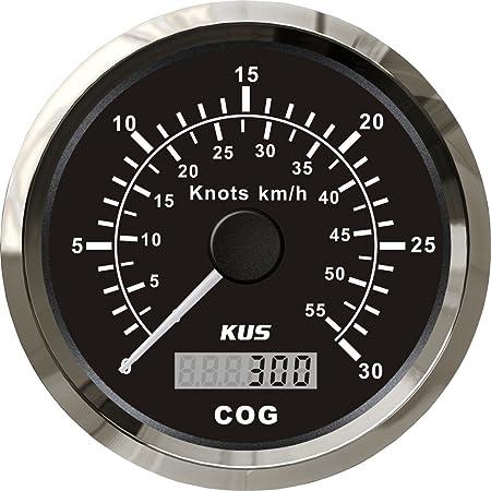 Kus Gps Tacho Kilometerzähler 60knots 110km H Für Boot Yachten 85mm Mit Hintergrundbeleuchtung Schwarz Auto