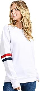 Women's Ultra Soft Fleece Stripe on Sleeves Varsity Solid Sweatshirt