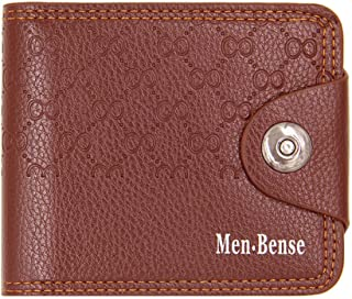 BeniNew men's wallet multi-function multiple cards solid color short wallet-light brown