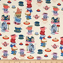 Cotton + Steel 0476815 Rifle Paper Co. Wonderland Mad Tea Party Neutral Fabric by The Yard