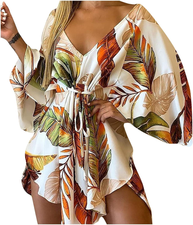 lcziwo Sexy Loose Deep V Neck Dress for Women High Waist Bandage Dresses Leopard/Print Irregular Hem Short Dress