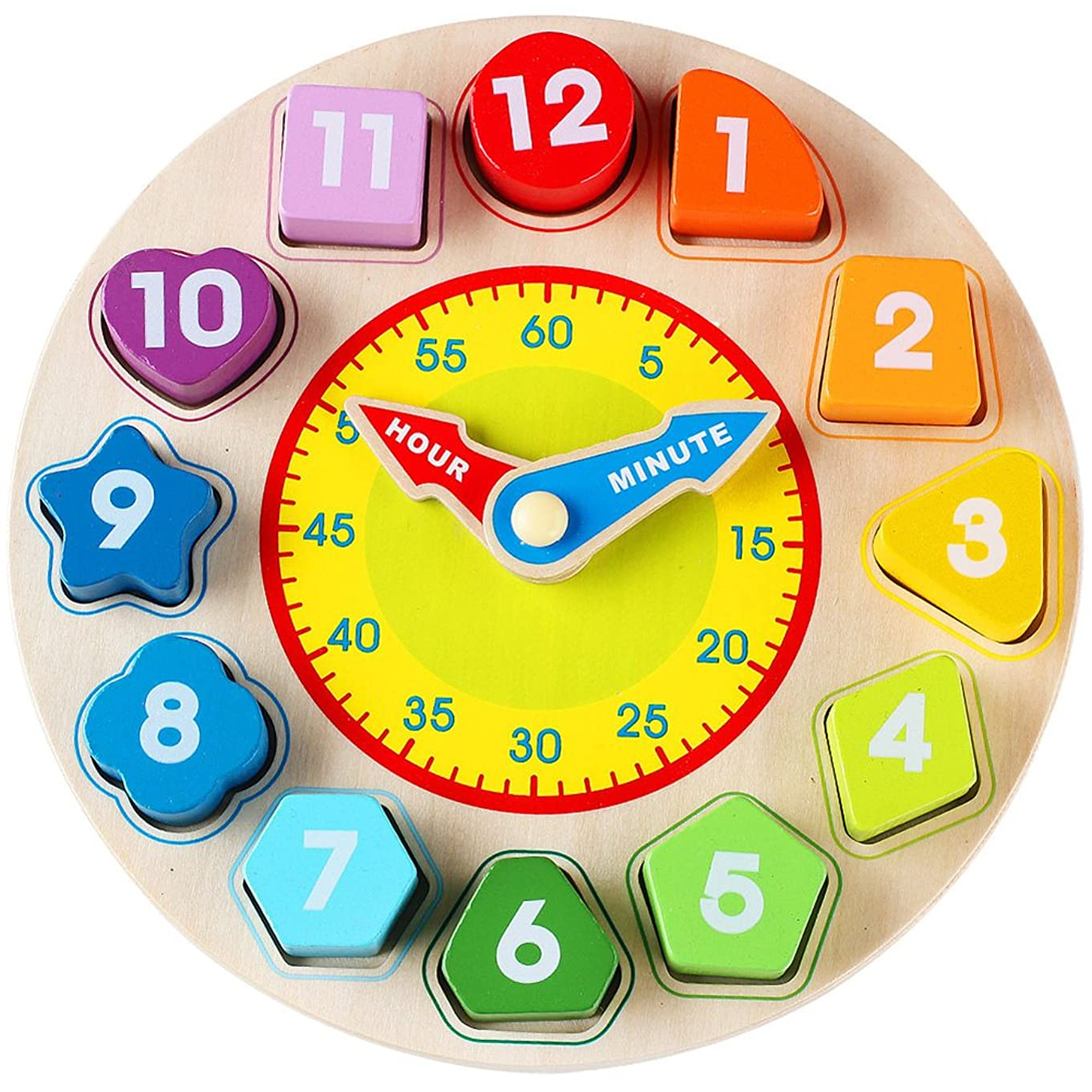 Toyssa Wooden Teaching Shape Sorting Clock Educational Toys Games for Kids 3 Years Old