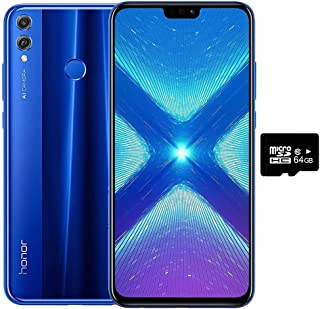 "Honor 8X (64GB, 4GB RAM) 6.5"" HD, Dual SIM GSM Factory Unlocked Smartphone - US + Global 4G LTE International Version JSN-L23 (Blue)"