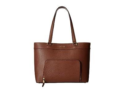 Calvin Klein Louise Saffiano Leather Tote (Walnut) Handbags