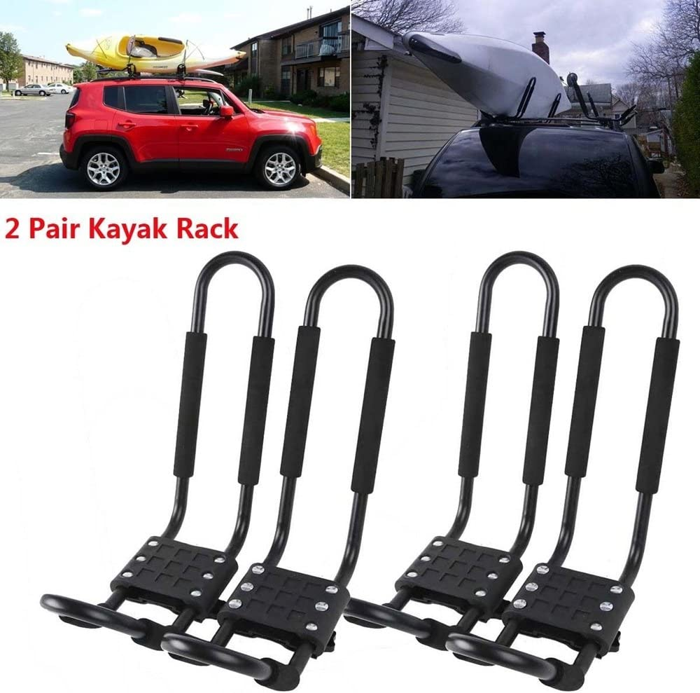1 Pair Kayak Carrier Boat Ski Surf Snowboard Roof Mount Car Cross J-Bar Rack