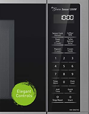 Panasonic Compact Microwave Oven with 1200 Watts of Cooking Power, Sensor Cooking, Popcorn Button, Quick 30sec and Turbo Defr