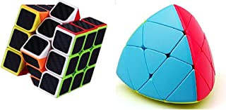 Enorme™ Cube Combos of Curve 3x3x3 Pyramorphix Cube and Neon Color Carbon Fiber Black Magic Puzzle Cube